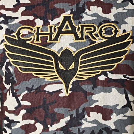 Charo - Sweat Crewneck Bandes Brodées Hood Vert Kaki Camouflage