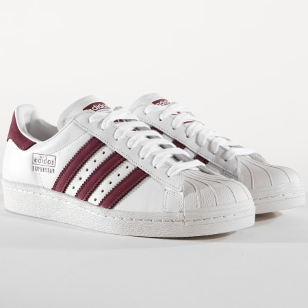 adidas Baskets Superstar 80s CM8439 Blanc Bordeaux