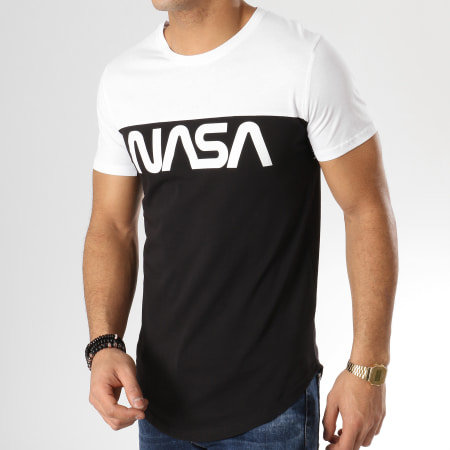 NASA Tee Shirt Oversize Bicolore Worm Logo Noir Blanc