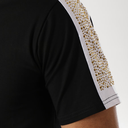 Berry Denim - Ensemble Short Tee Shirt Bandes Brodées JB18076 Noir Doré
