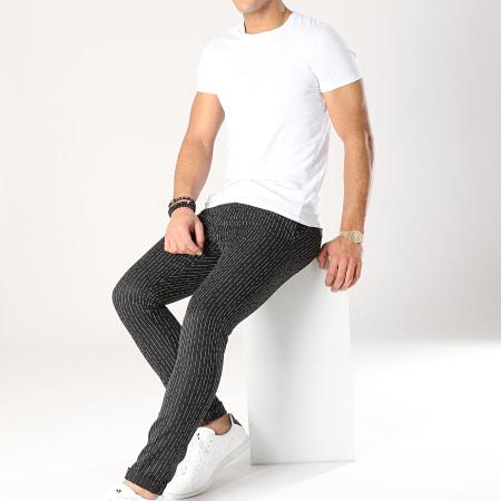 Classic Series - Pantalon Rayé 90012 Noir Blanc