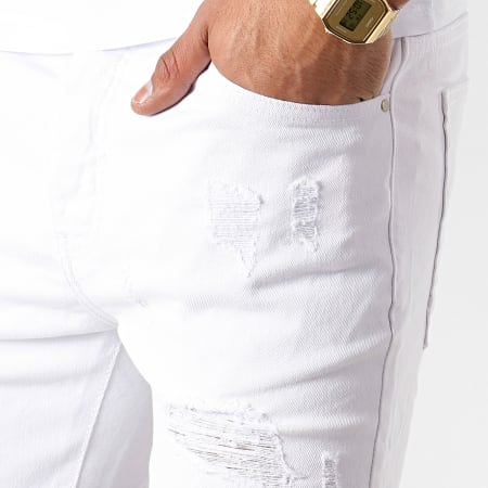 LBO - Short Jean Avec Dechirures LB054-B09 Blanc