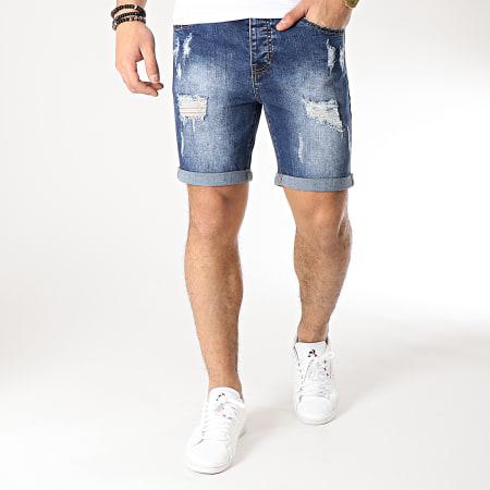 LBO - Short Jean Avec Dechirures LB054-B11 Bleu Medium