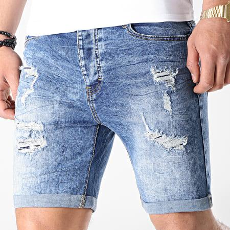 LBO - Short Jean Avec Dechirures 8011 Bleu Medium