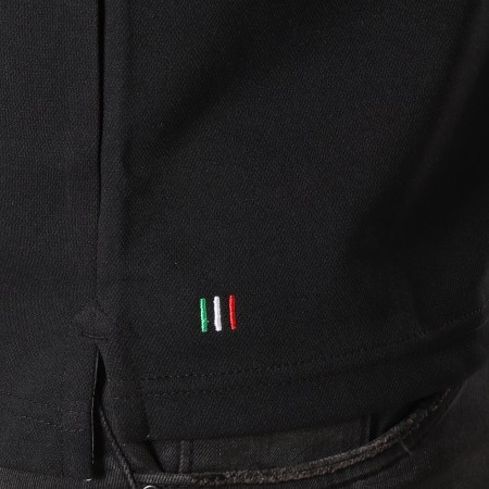 Sergio Tacchini - Polo Manches Courtes A Bandes Custo Noir Blanc