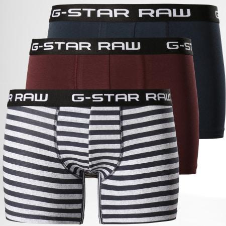G-Star - Lot De 3 Boxers D13387-8270 Bleu Marine Bordeaux Gris Noir