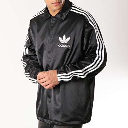 adidas Veste Satinée Coach DV1617 Noir Blanc