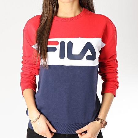 Fila - Sweat Crewneck Femme Leah Bleu Marine Rouge Blanc