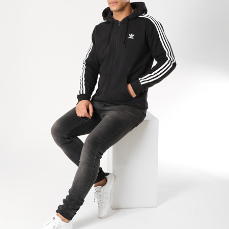 adidas - Sweat Zippé Capuche 3 Stripes DV1551 Noir Blanc