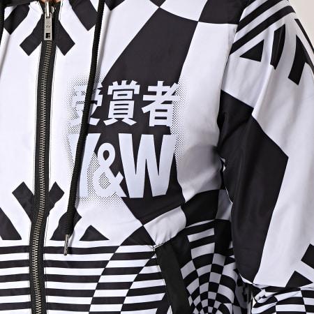 Y et W - Veste Zippée Capuche Réversible Echec & Mat Noir Blanc