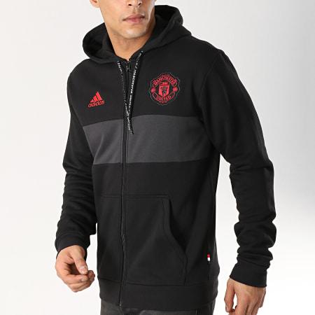 adidas Sweat Zippé Capuche Avec Bandes Manchester United
