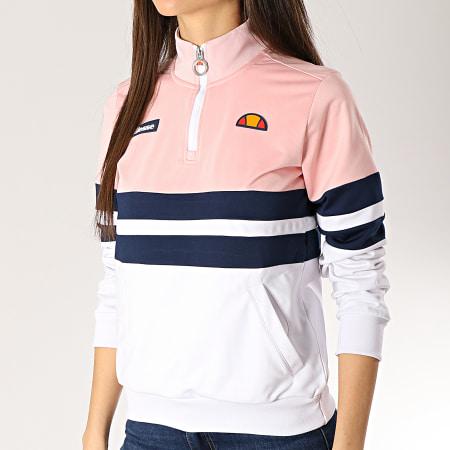 Ellesse - Sweat Col Zippé Femme 1076N Blanc Rose Bleu Marine