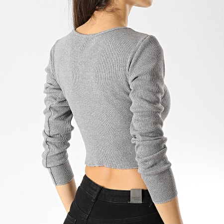 Girls Only - Tee Shirt Manches Longues Crop Femme 9006 Gris Chiné