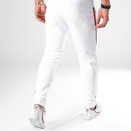 LBO - Pantalon Jogging Avec Bandes Noir et Rouge 621 Blanc