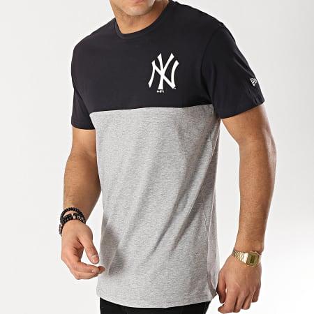 New Era - Tee Shirt Color Block New York Yankees 11860154 Gris Chiné Bleu Marine