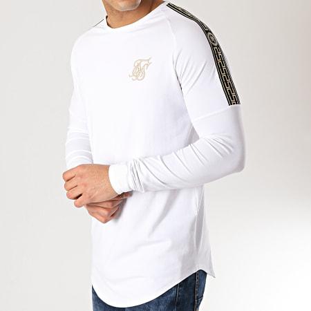 SikSilk - Tee Shirt Oversize Manches Longues 14328 Blanc Doré