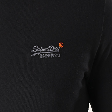 Superdry - Tee Shirt Manches Longues Orange Label Vintage Noir