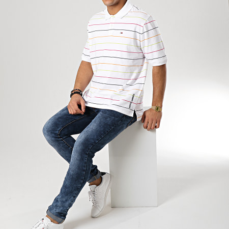 Tommy Hilfiger Jeans - Polo Manches Courtes Fine Stripe 6027 Blanc