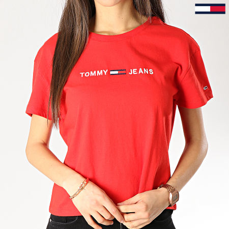Tommy Hilfiger Jeans - Tee Shirt Femme Clean Boxy Logo 5455 Rouge