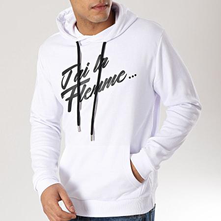 D Ace - Sweat Capuche Flemme Blanc
