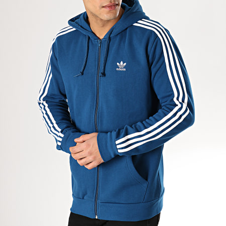 adidas Sweat Zippé Capuche 3 Stripes FZ DV1556 Bleu Marine
