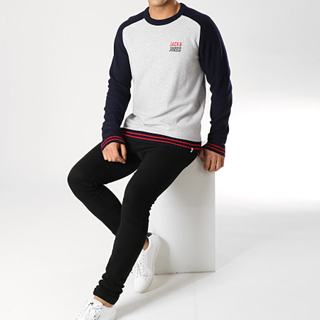 Jack And Jones - Pull Bold Gris Chiné Bleu Marine