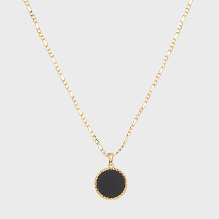 Chained And Able - Collier Onyx Figaro Medallion NB17086 Doré