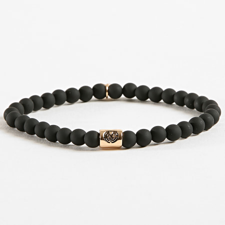 Chained And Able - Bracelet Cross Slim Beaded BB17095 Noir Doré