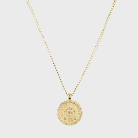 Chained And Able - Collier Coin Pendant OE016 Doré