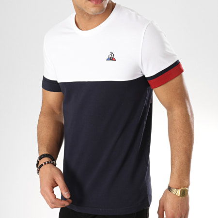 Le Coq Sportif - Tee Shirt Tricolore N4 1910825 Blanc Bleu Marine Bordeaux