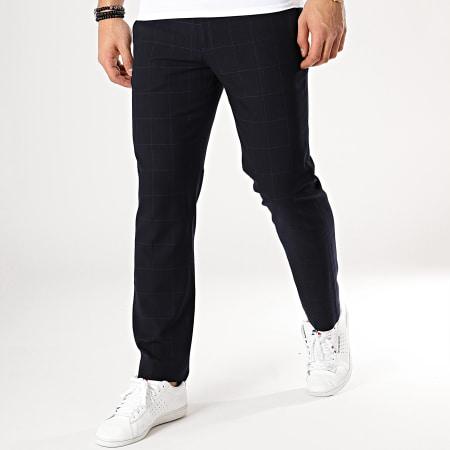 celio pantalon bleu marine à carreaux