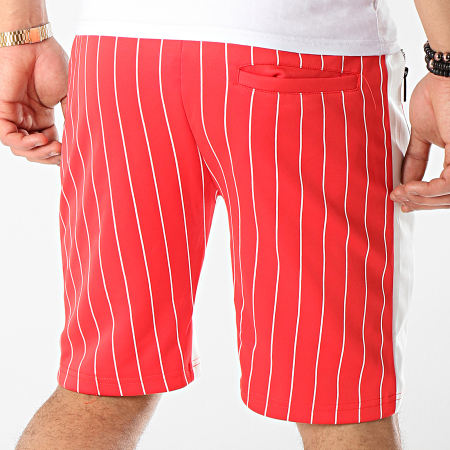 Zayne Paris - Short Jogging Rayé Avec Bandes MD05 Rouge Blanc
