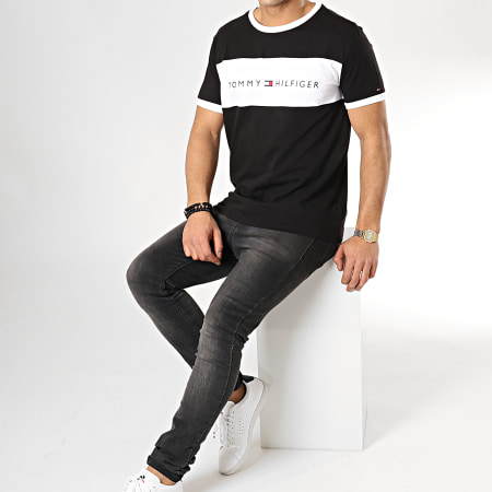 Tommy Hilfiger Jeans - Tee Shirt Logo Flag 1170 Noir Blanc