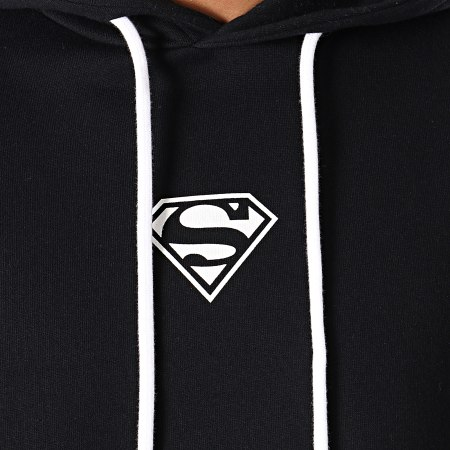 Superman - Sweat Capuche A Bandes Tape Noir