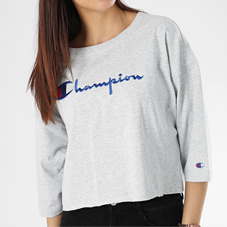 Champion - Tee Shirt Crop Femme 111583 Gris Chiné