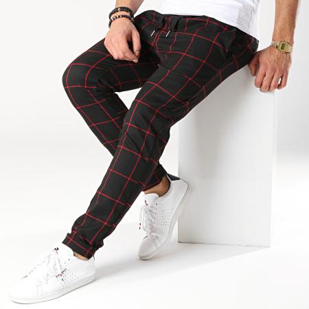 Frilivin - Pantalon Carreaux 7337-QR04 Noir Rouge