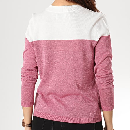 Only - Pull Femme Over Rose Blanc