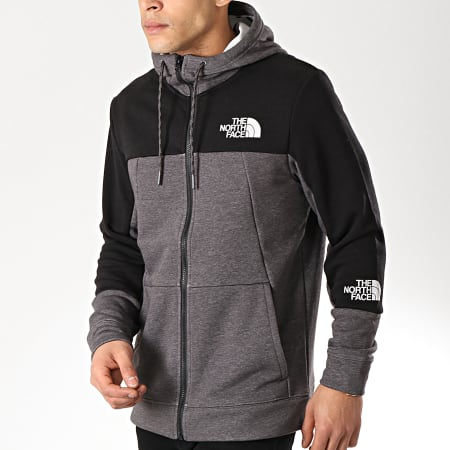 The North Face - Sweat Zippé Capuche Mountain Lite 3RYW Gris Anthracite Chiné Noir