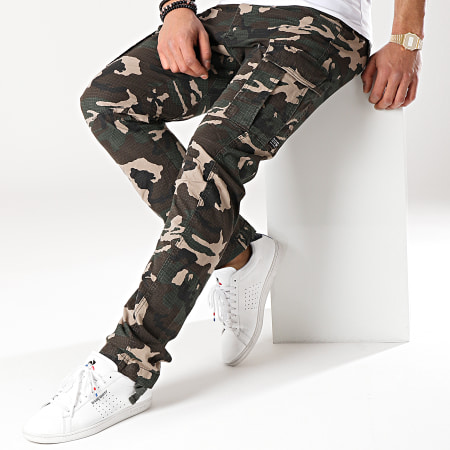 Jack And Jones - Pantalon Cargo Drake Chop Vert Kaki Camouflage