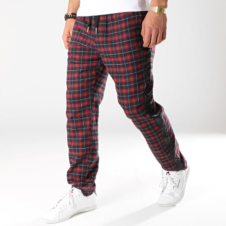 Sixth June - Pantalon Carreaux Avec Bandes Satiné M3718CPA Rouge Noir
