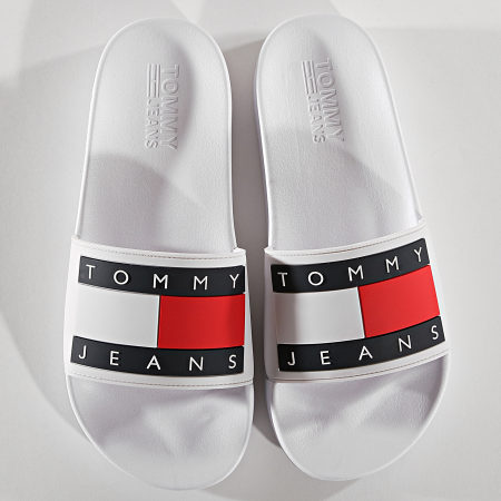 Tommy Hilfiger Jeans - Claquettes Flag EM0EM00284 Blanc