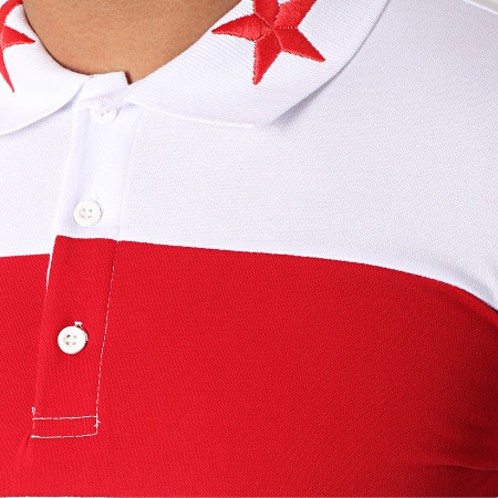 Ikao - Polo Manches Courtes Oversize F488 Blanc Rouge