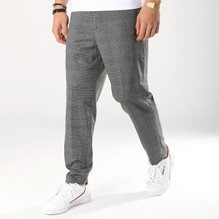 Selected - Pantalon Carreaux Jersey Gris Anthracite Noir