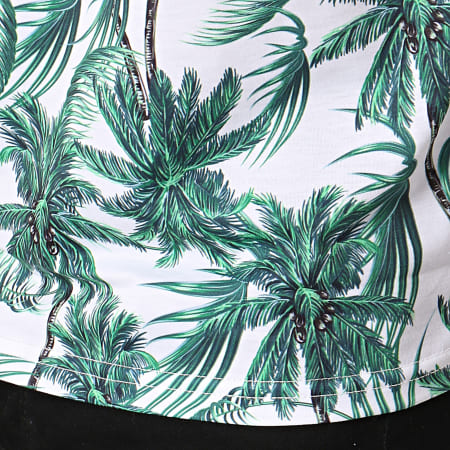 Frilivin - Polo Manches Courtes MP922 Blanc Vert Floral