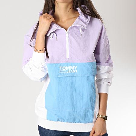 Tommy Hilfiger Jeans - Coupe-Vent Femme Retro Color Pop Blanc Bleu Clair Lilas