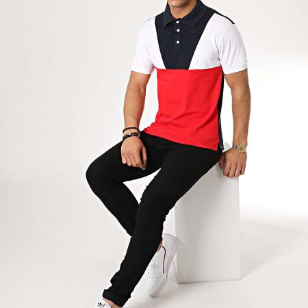 Zayne Paris - Polo Manches Courtes MT05 Bleu Marine Blanc Rouge