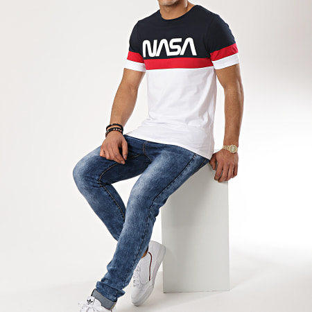 NASA - Tee Shirt Tape Tricolore Bleu Marine Blanc Rouge