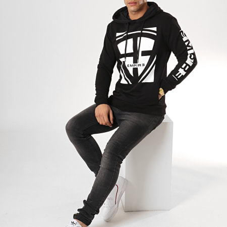 93 Empire - Sweat Capuche 93 Square Sleeves Noir Blanc