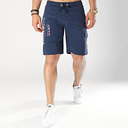 Geographical Norway - Short De Bain Patchs Brodés Quaractere Bleu Marine