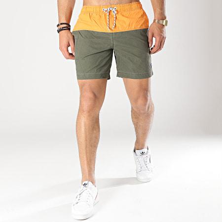 Blend - Short De Bain 20708108 Vert Kaki Orange